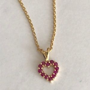 Jewelry - Ruby heart gold plated necklace